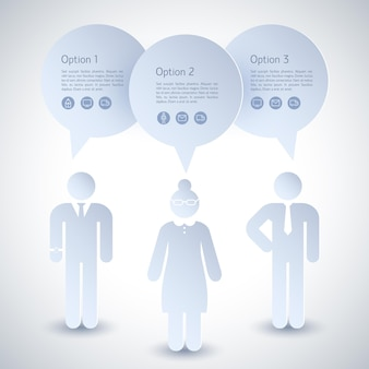 Deux hommes d'affaires et une composition de femme avec des descriptions de négociation au travail
