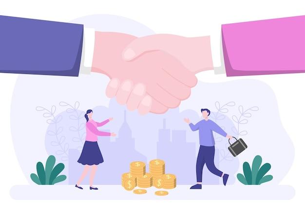 Deux hommes d'affaires parviennent à un accord ou à un accord se serrant la main sur un contrat de coopération en tant que partenaires réussis. illustration vectorielle de fond