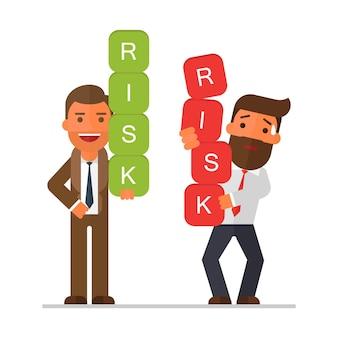 Deux hommes d'affaires transportant des blocs de risque