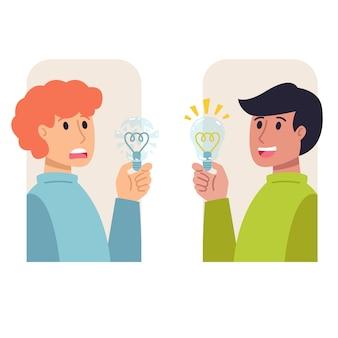 Deux hommes avec des ampoules dans leurs mains