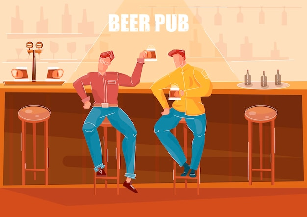 Deux hommes buvant de la bière au comptoir du bar dans un pub plat