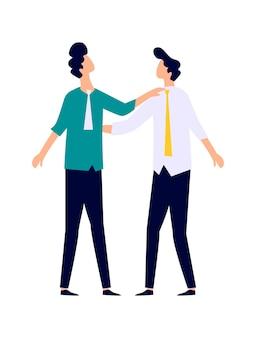 Deux hommes en costume d'affaires s'embrassent par les épaules