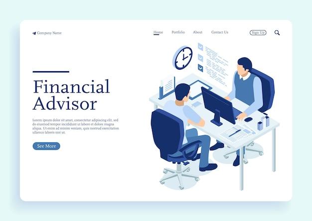 Deux hommes discutent de la bannière du concept de conseiller financier avec des personnages