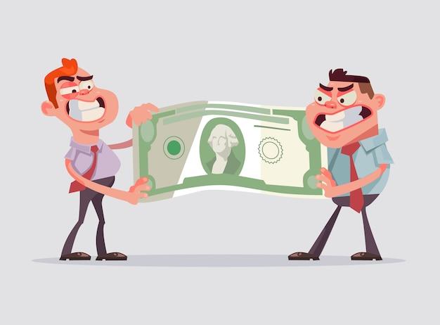 Deux hommes employés de bureau se partagent l'argent. illustration de dessin animé plat