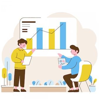 Deux hommes faisant des statistiques de présentation au bureau