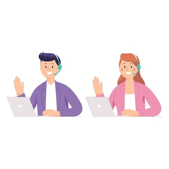 Deux hommes et femmes travaillent comme service client