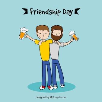Deux hommes avec fond de bières