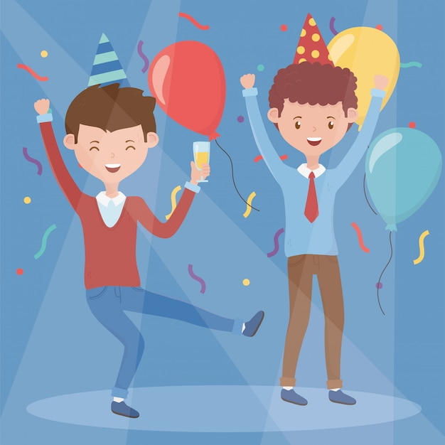 Deux hommes heureux boire fête fête