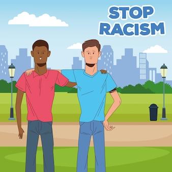 Deux hommes interraciaux arrêtent la campagne contre le racisme