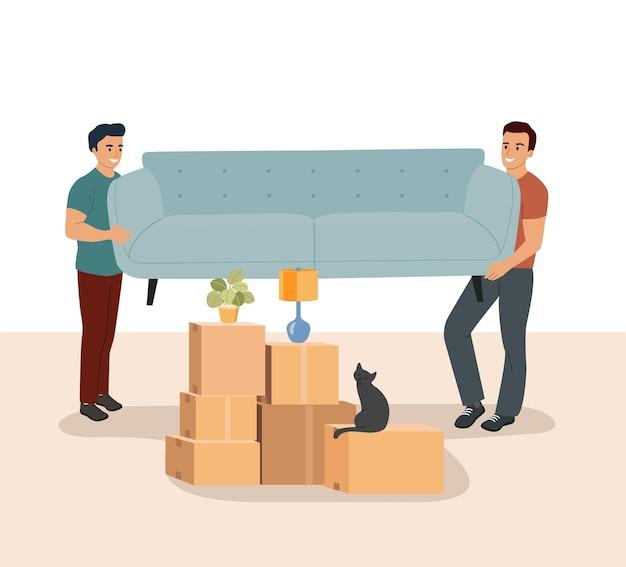 Deux hommes portent un canapé. boîtes de déménagement dans la nouvelle maison. illustration vectorielle.