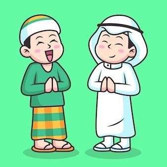Deux hommes saluent pour pardonner. illustration d'icône de dessin animé musulman. concept d'icône de personne isolé