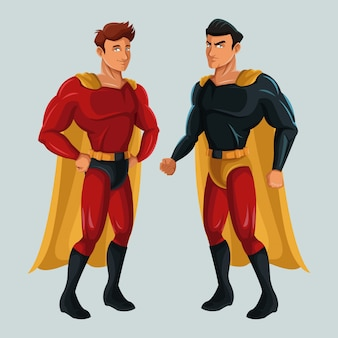 Deux hommes super-héros justice avec super-costume
