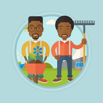 Deux hommes vont planter des fleurs