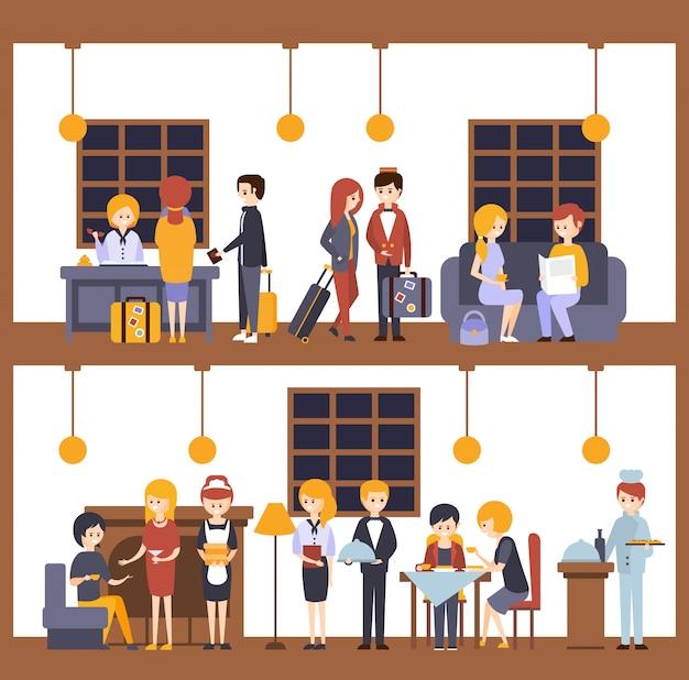 Deux illustrations, scènes de l'hôtel à la réception et au restaurant