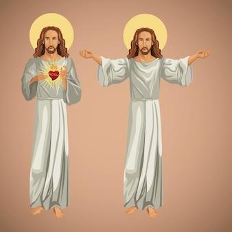 Deux images jésus-christ christianisme