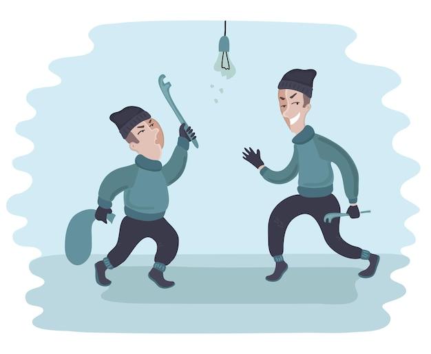 Deux jeunes hommes volent et cassent des trucs