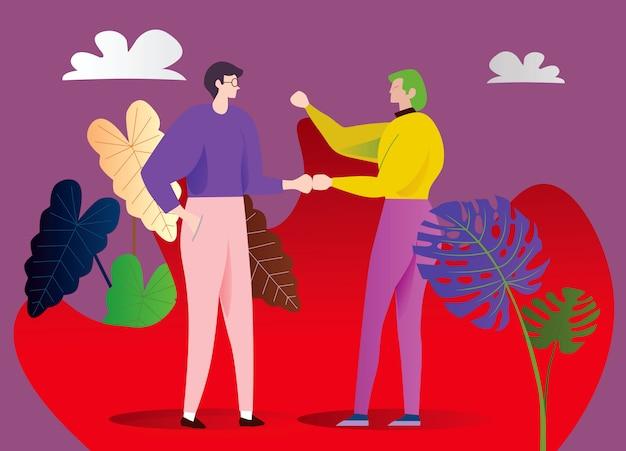 Deux jeunes millionnaires parlent. rencontre d'amis ou de collègues dans le jardin