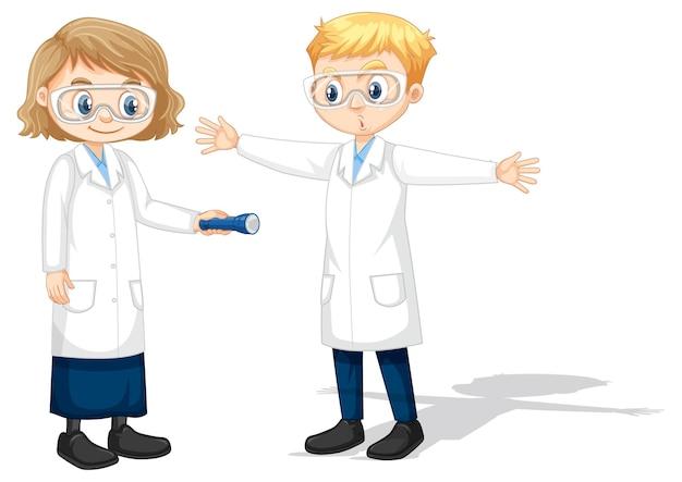 Deux jeunes scientifiques faisant l'expérience de l'ombre