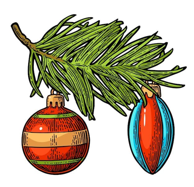 Deux jouets sur une branche de sapin pour l'affiche de joyeux noël et bonne année gravure de vecteur