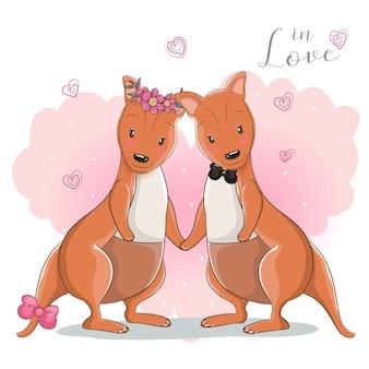 Deux kangourou mignon de bande dessinée avec fond de coeur