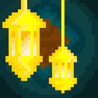 Deux lanternes avec un style pixel art