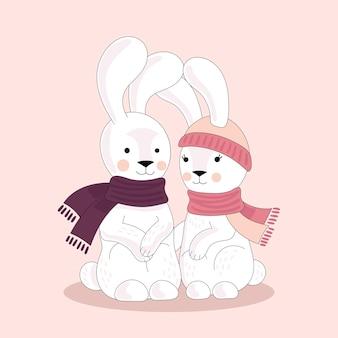 Deux lapins mignons amoureux dans un chapeau et une écharpe. un rendez-vous romantique. illustration vectorielle isolée sur fond blanc.