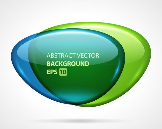 Deux lentilles géométriques en fusion abstraite. deux disques en verre avec dégradé lumineux vert et bleu.