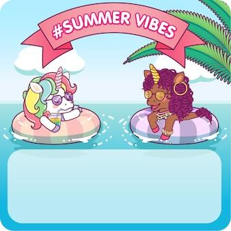 Deux licornes cool flottant sur une bouée de sauvetage s'amuser