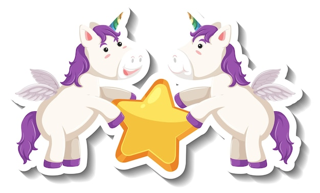 Deux licornes mignonnes tenant l'étoile ensemble autocollant de dessin animé