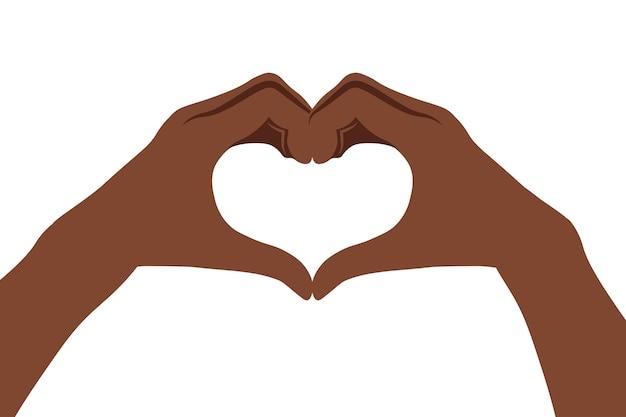 Deux mains africaines faisant signe de coeur. amour, concept de relation amoureuse. isolé.