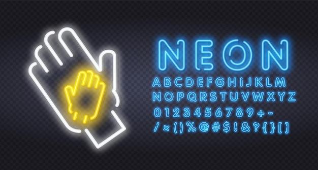 Deux mains au néon applaudissements icône néon illustration