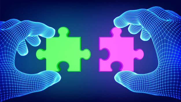 Deux mains essayant de connecter la pièce du puzzle couple. pièces de puzzle rouges et vertes comme symbole d'association et de connexion. concept de travail d'équipe.