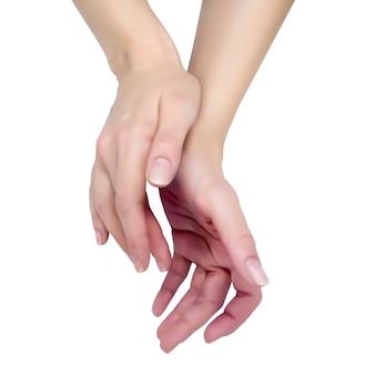Deux mains féminines élégantes sur fond blanc montrent des signes