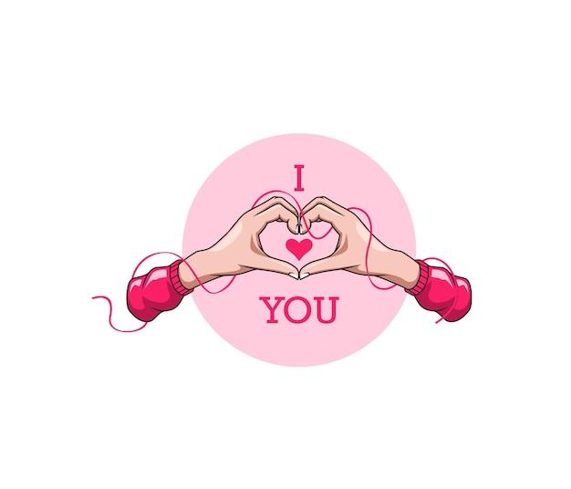 Deux mains en forme de coeur coloré dessiné à la main pour la saint-valentin
