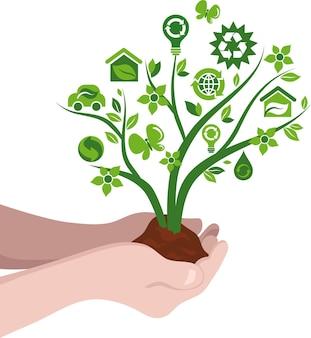 Deux mains tenant un arbre avec des icônes environnementales