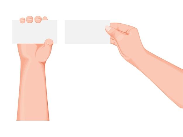Deux mains tenant une carte ou du papier vide