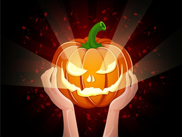 Deux mains tenant le vecteur d'halloween citrouille