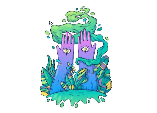 Deux mains avec des yeux parmi les plantes à feuilles caduques. illustration de dessin animé créatif.