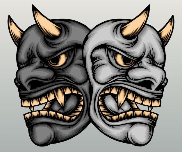 Deux masques hannya dessinés à la main