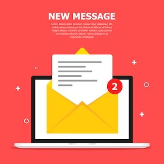Deux messages s'affichent sur l'écran de l'ordinateur. rouge avec de petits objets blancs. ci-dessus, un texte blanc est écrit.