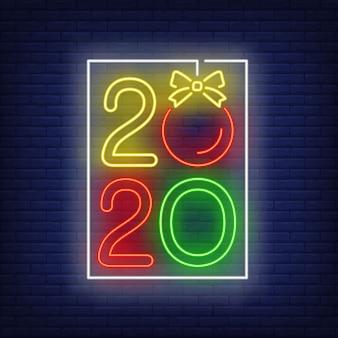 Deux mille vingt enseigne au néon