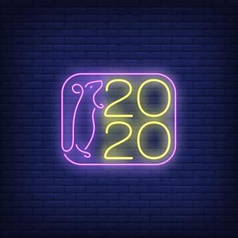 Deux mille vingt nouvel an enseigne au néon