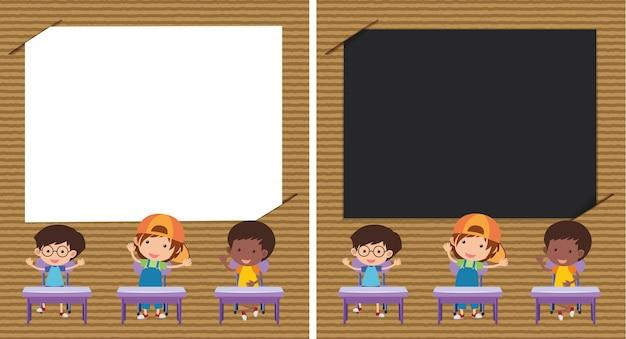 Deux modèle de papier avec des enfants dans la salle de classe
