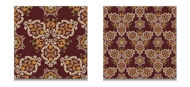 Deux modèles de motifs floraux vectoriels motifs damassés sans couture vintagetuiles décoratives