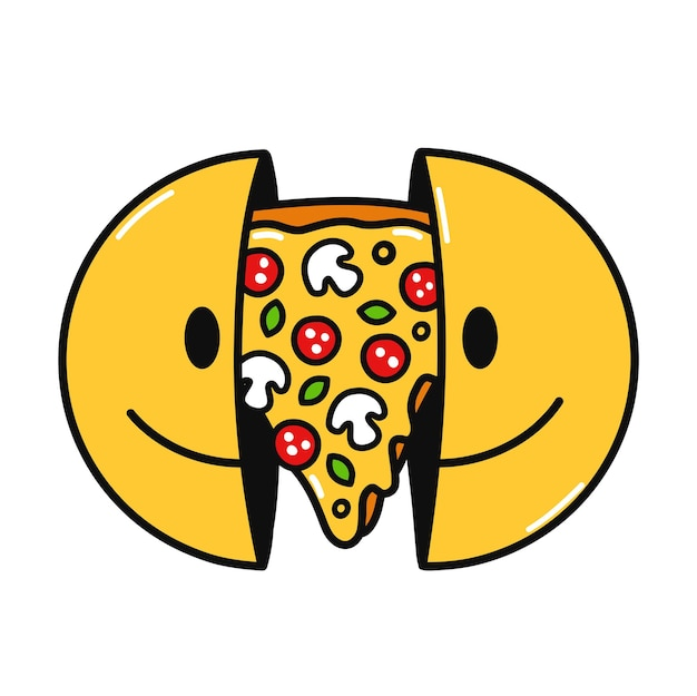 Deux moitiés du visage souriant avec une pizza à l'intérieur. vector illustration de personnage de dessin animé doodle dessinés à la main. isolé sur fond blanc. visage souriant, impression de tranche de pizza pour t-shirt, affiche, concept de carte
