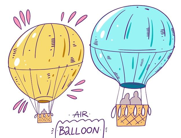 Deux montgolfières. en style cartoon. isolé sur fond blanc.