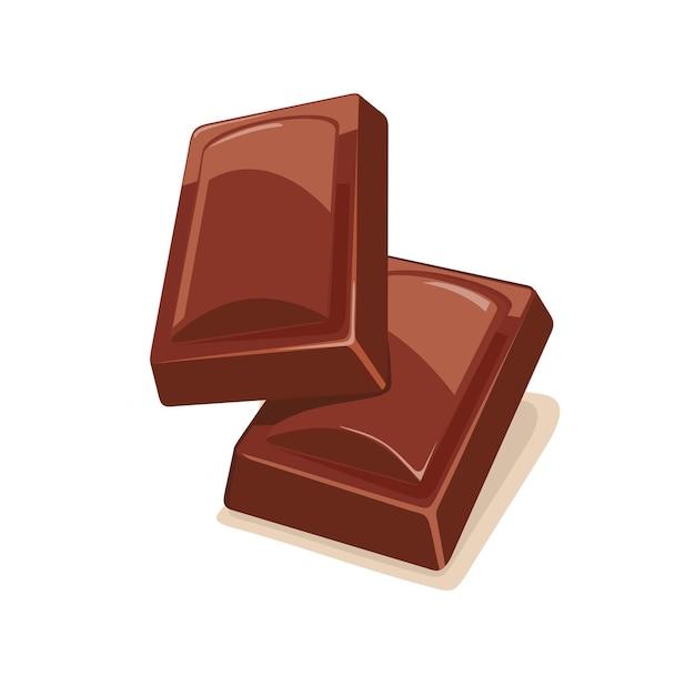 Deux morceaux de chocolat. illustration vectorielle couleur plate. isolé sur fond blanc.