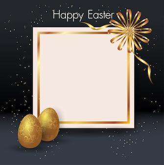 Deux oeufs de pâques dorés, cadre, fond noir et confettis en or.
