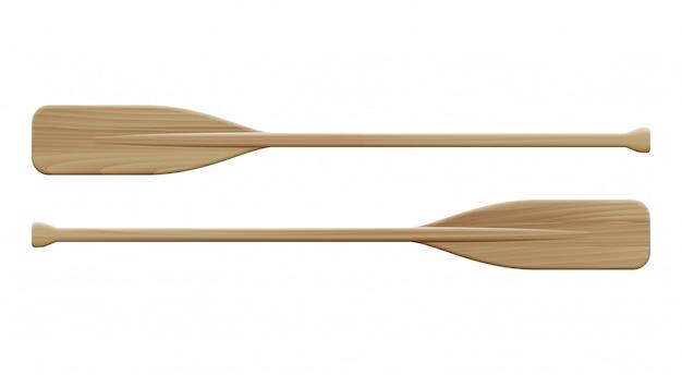 Deux pagaies en bois. avirons de sport.