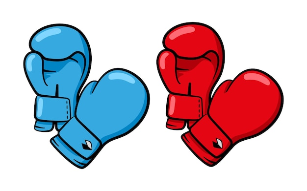 Deux paires de gants de boxe, rouge et bleu.